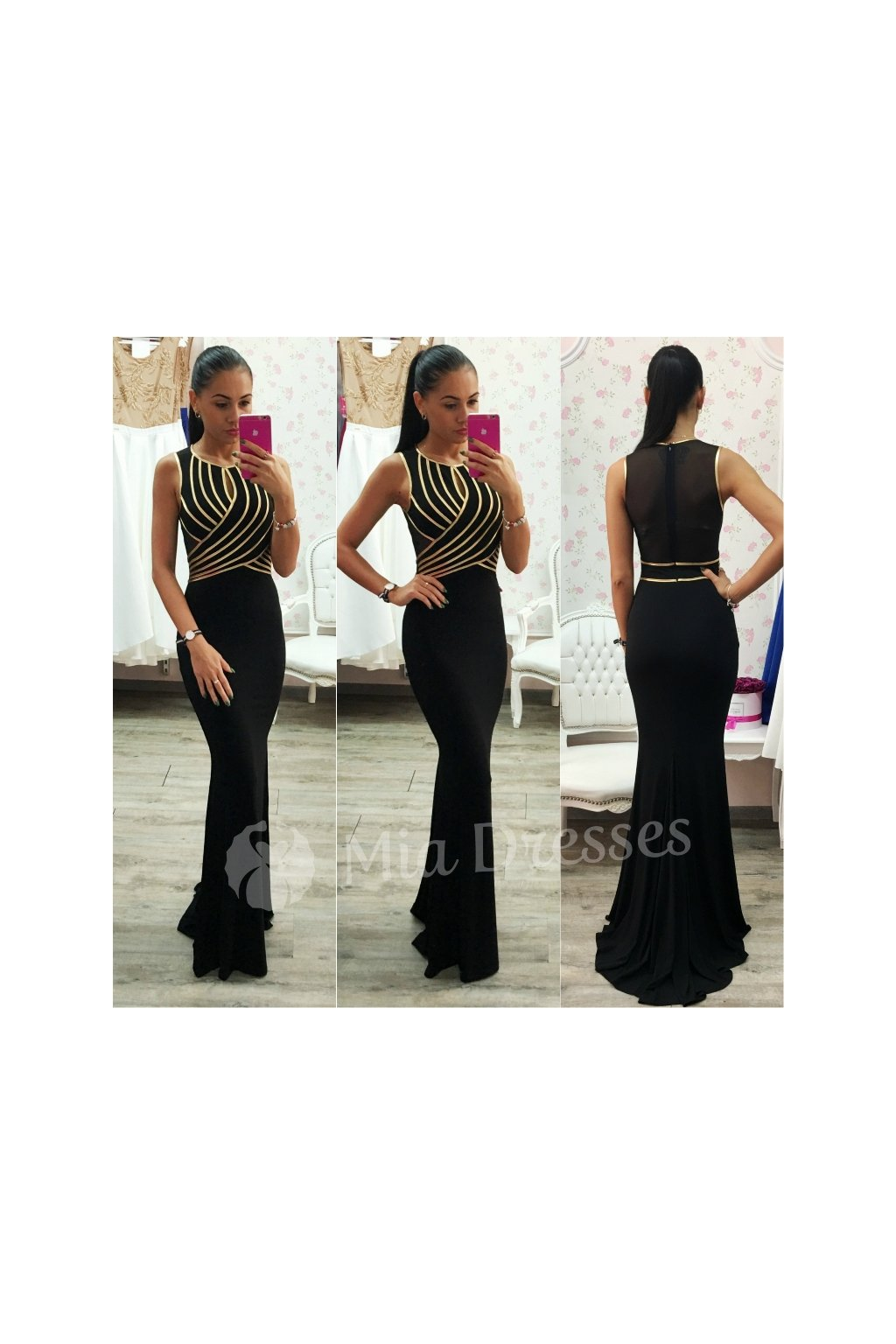 Čierne šaty so zlatými pásmi
