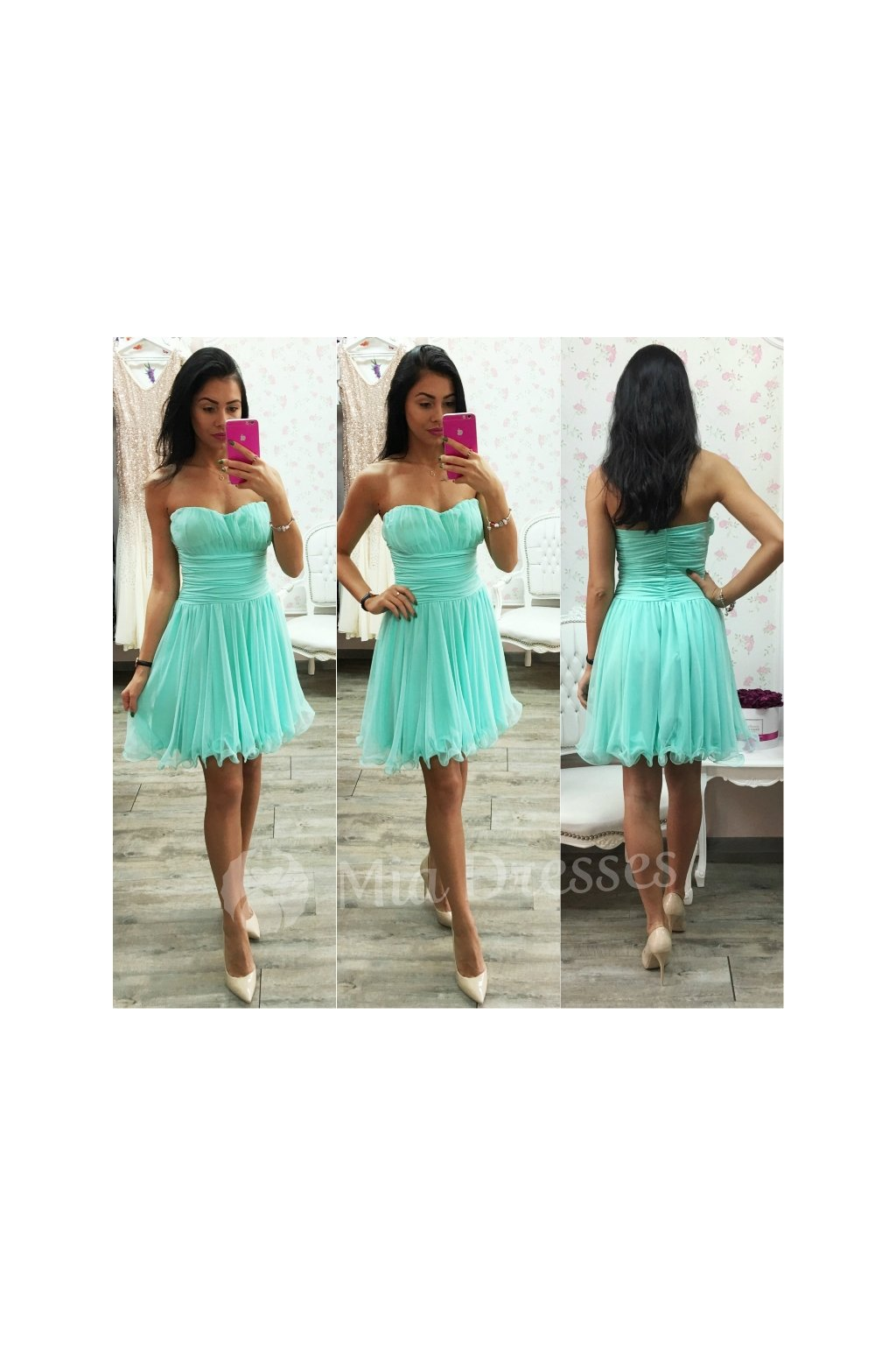 Mentolové spoločenské šaty - Mia Dresses fc1d4514356