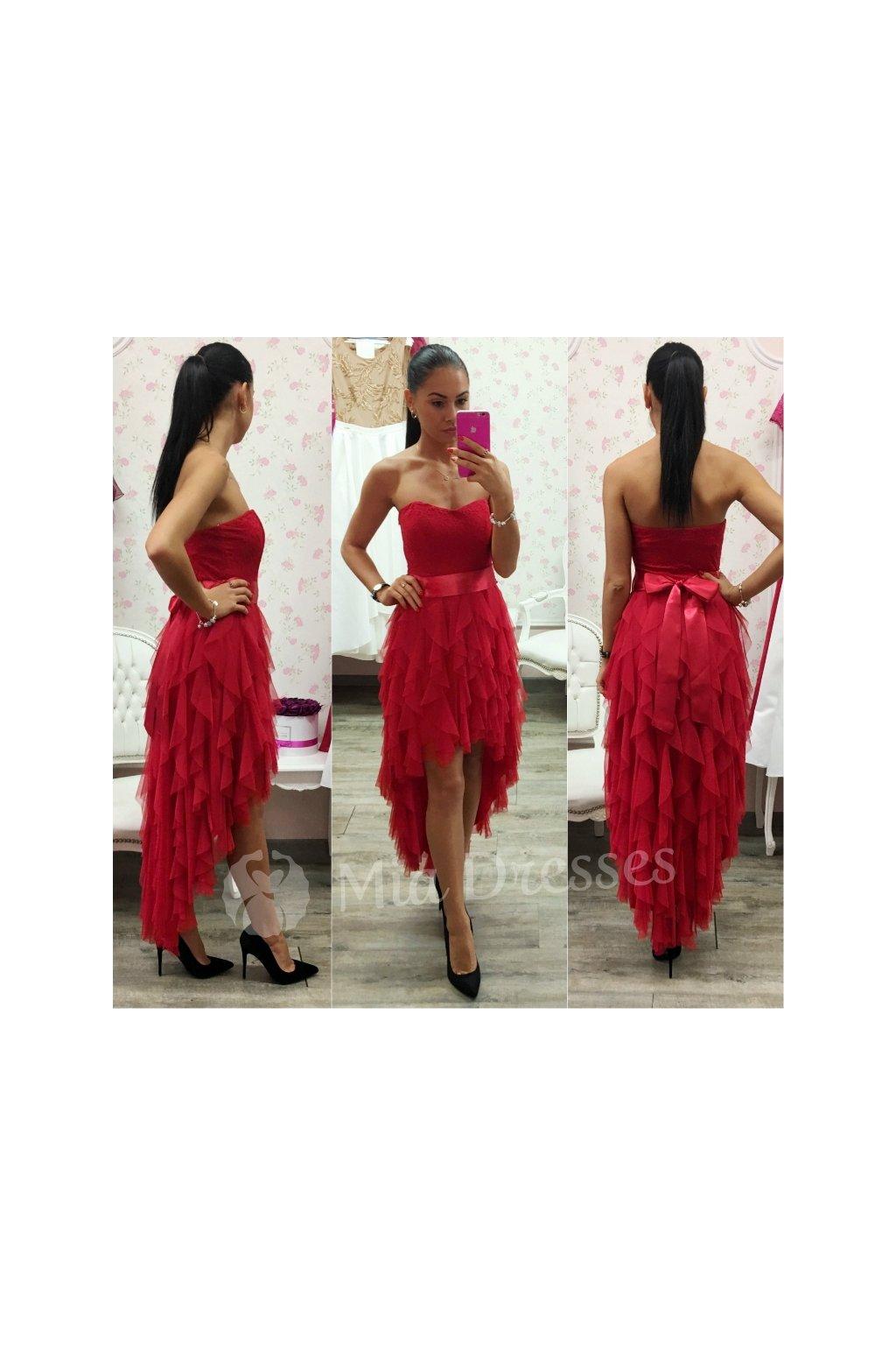 Červené asymetrické šaty so stuhou