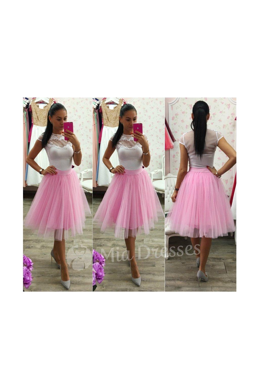 Ružová midi tylová tutu sukňa - Mia Dresses f1b21c0e8a
