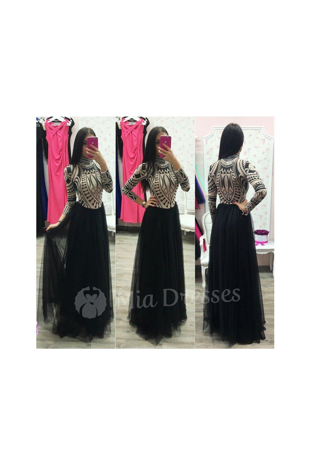 Čierna dlhá tylová sukňa