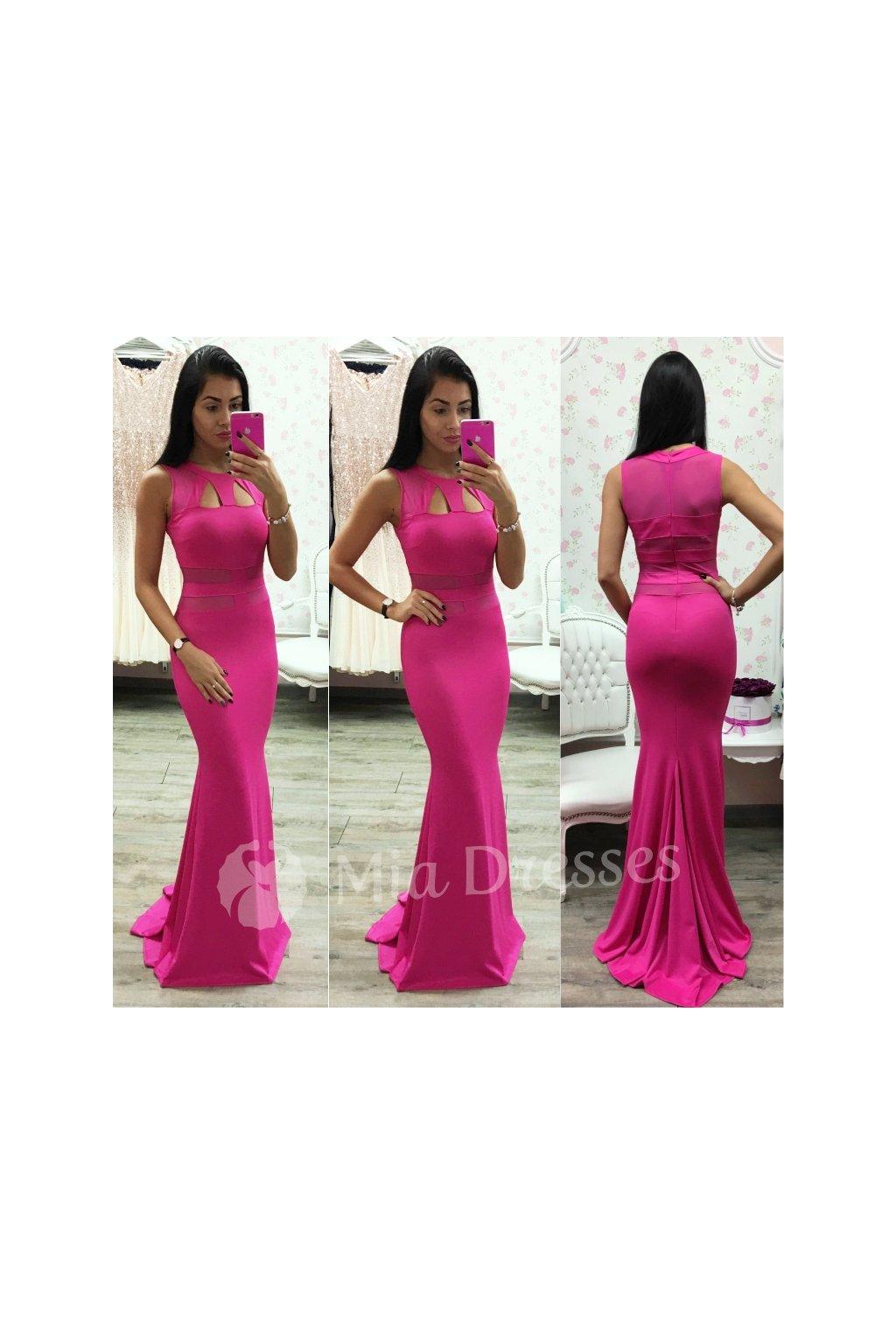Cyklaménové dlhé šaty s výrezmi
