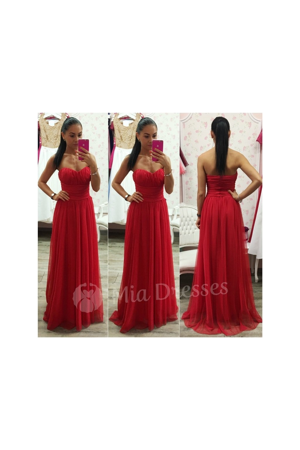 Červené dlhé spoločenské šaty - Mia Dresses f6c6e40c710