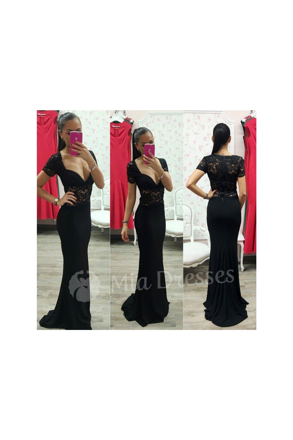 Čierne dlhé spoločenské šaty s čipkou - Mia Dresses 60e8b8a1605