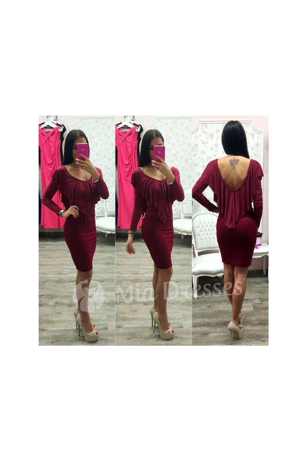Bordová sukňa s vysokým pásom