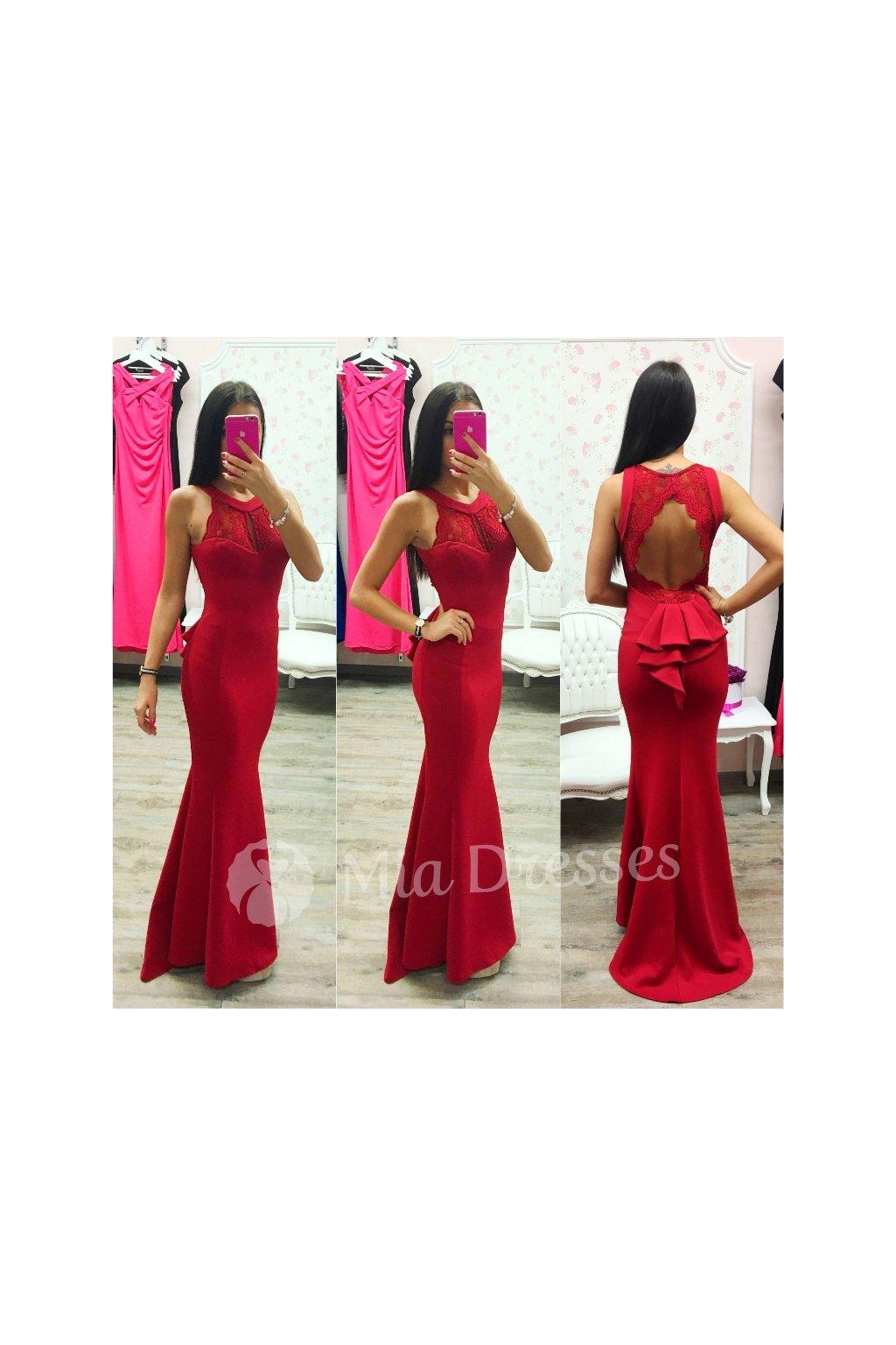 ed2614e2bd3c Červené dlhé šaty - Mia Dresses