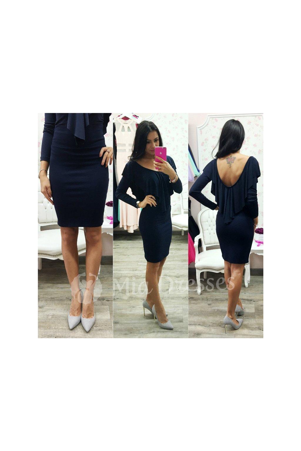Tmavomodrá sukňa s vysokým pásom