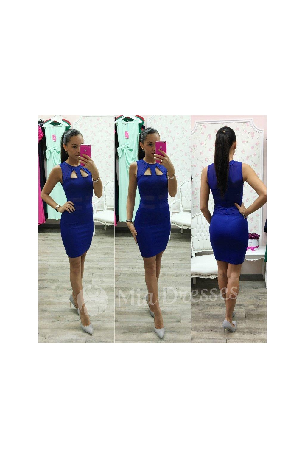 Modré krátke šaty s výrezmi
