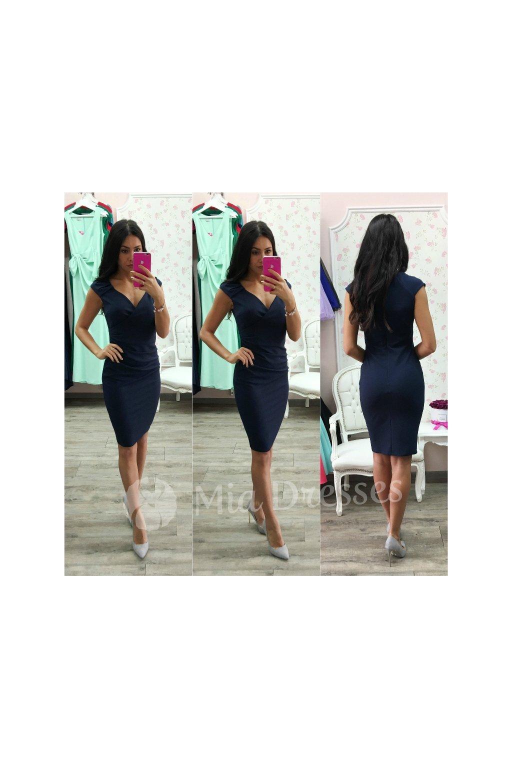47a8193340d9 Tmavomodré krátke šaty s výstrihom - Mia Dresses