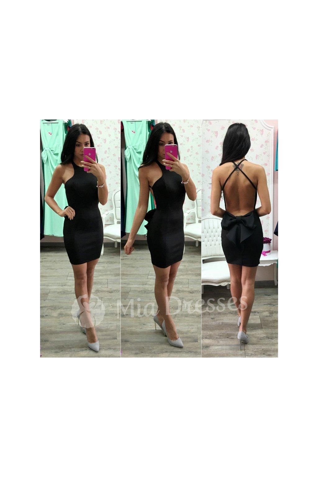 7f2b35072 Čierne mini šaty s mašľou - Mia Dresses