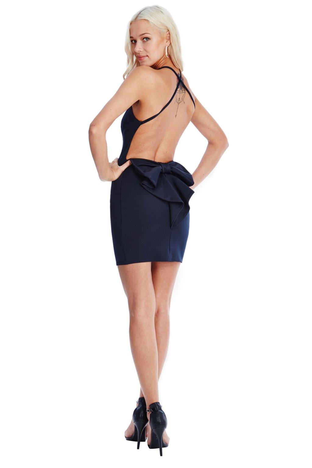 Tmavomodré mini šaty s mašľou