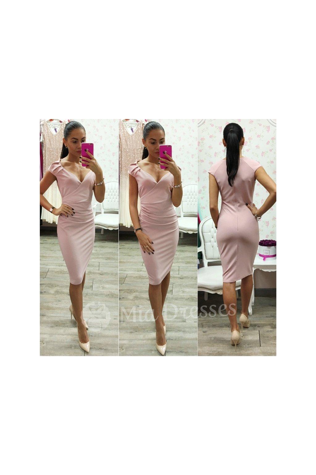 d9427ff07b6f Staroružové krátke šaty s výstrihom - Mia Dresses