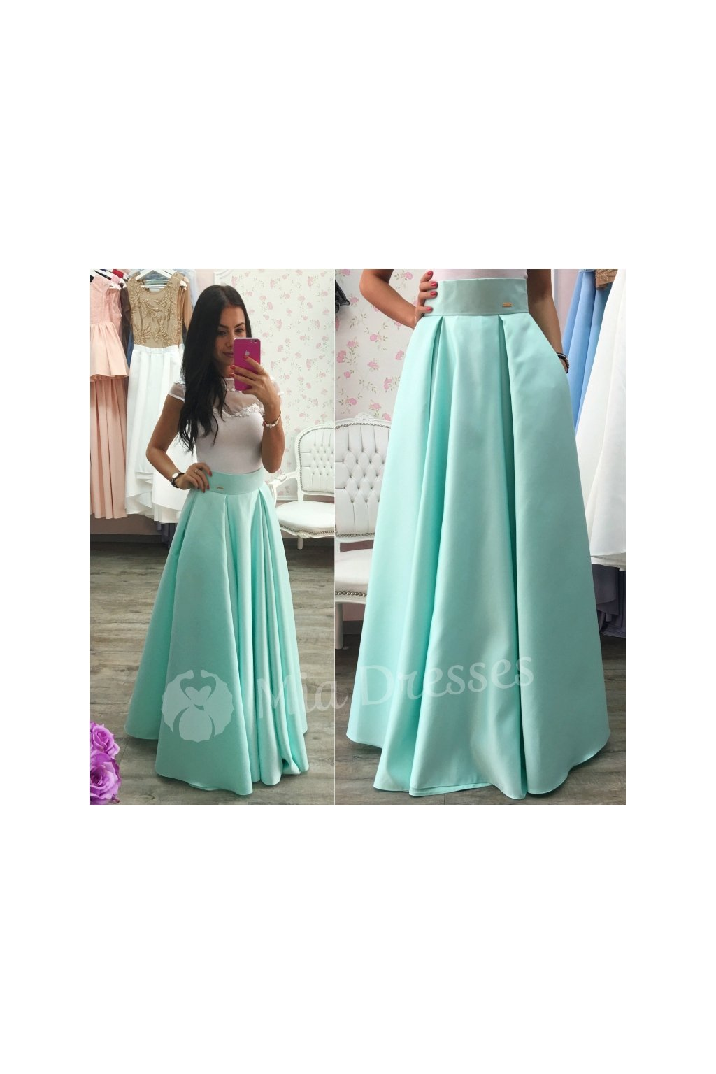 Mentolová dlhá saténová sukňa