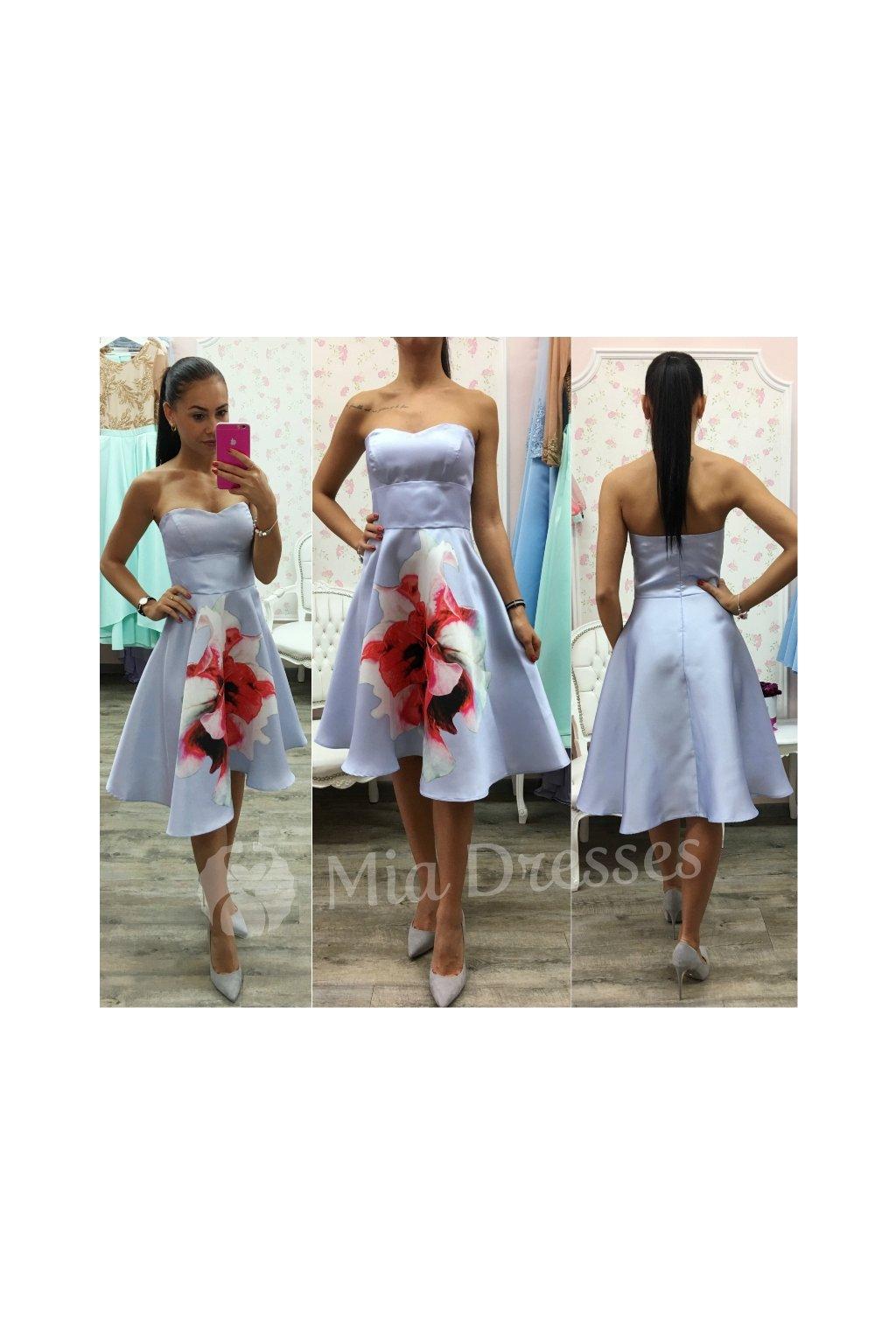 5fff883e9dc3 Svetlomodré áčkové šaty Flower - Mia Dresses