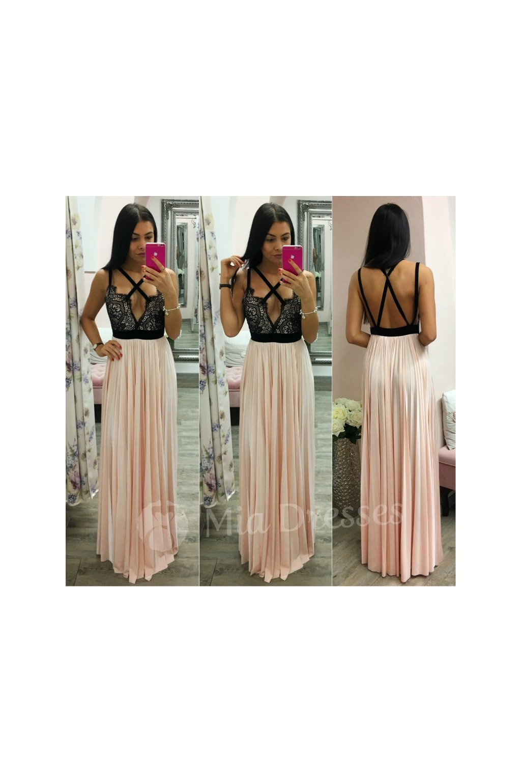 Spoločenské šaty s plisovanou sukňou NUDE