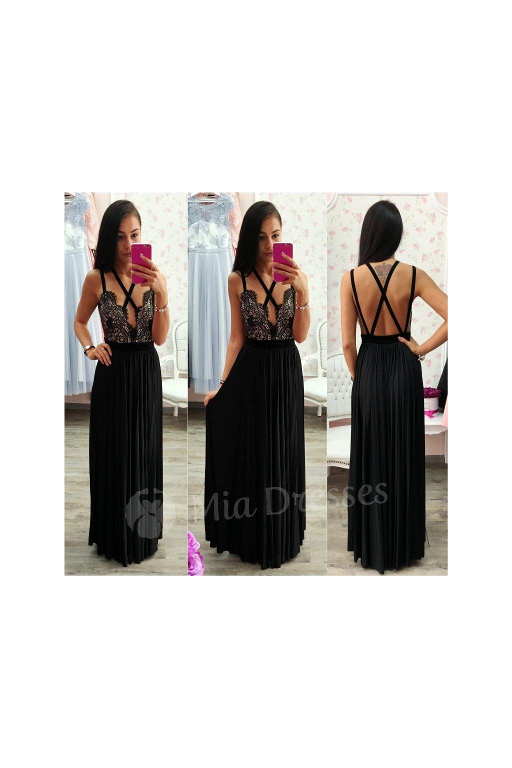 Spoločenské šaty s plisovanou sukňou BLACK
