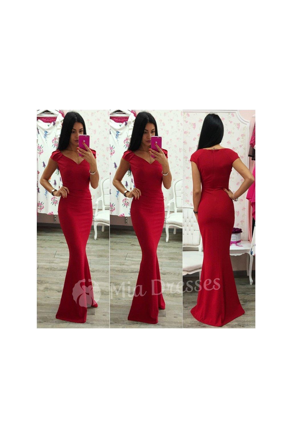 9424b70213da Červené spoločenské priliehavé šaty - Mia Dresses