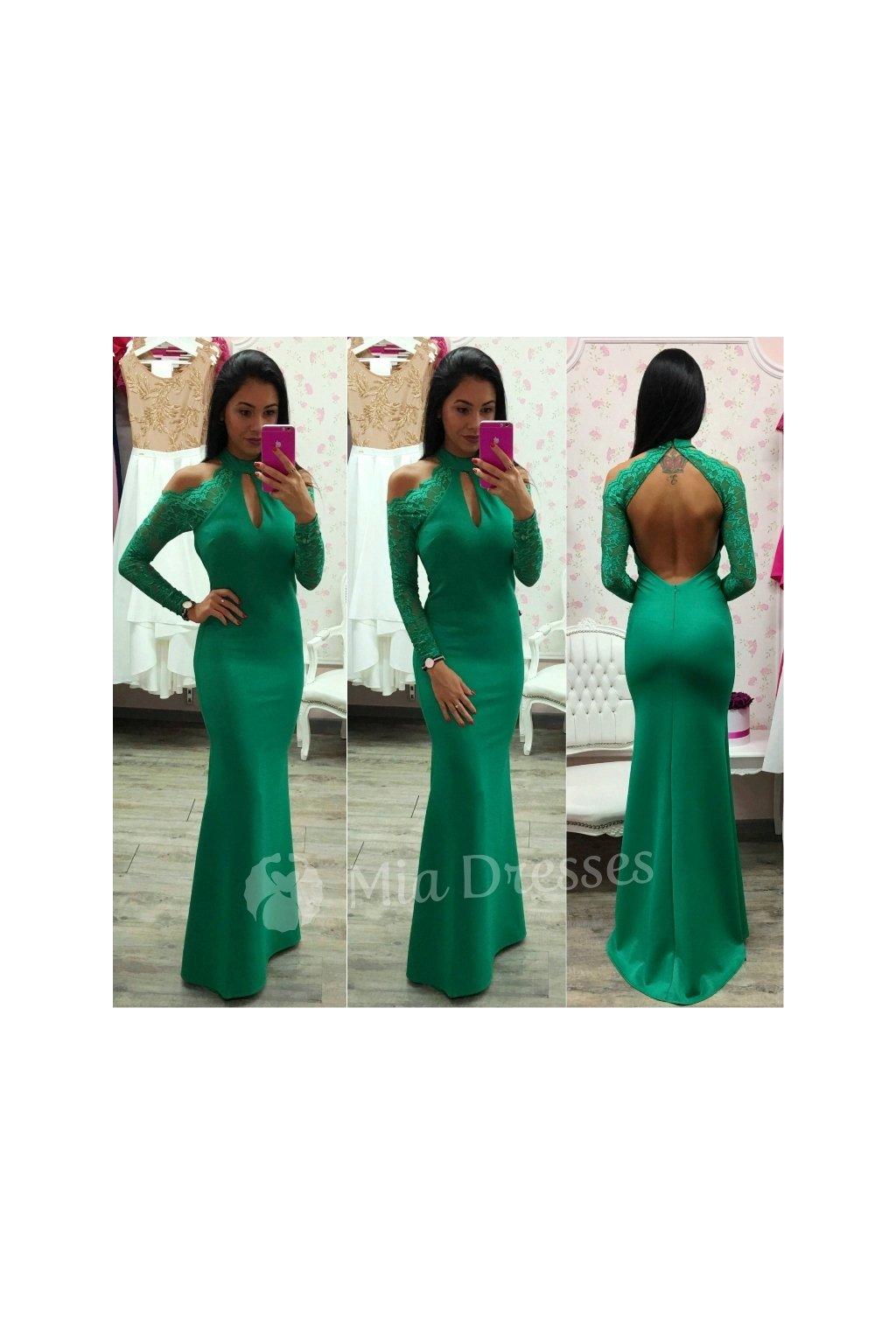 Zelené spoločenské šaty s čipkou