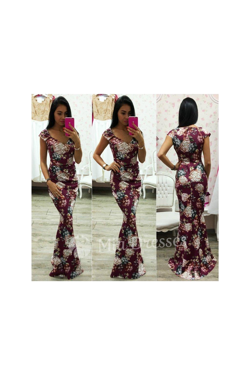 Bordové kvetinové spoločenské šaty
