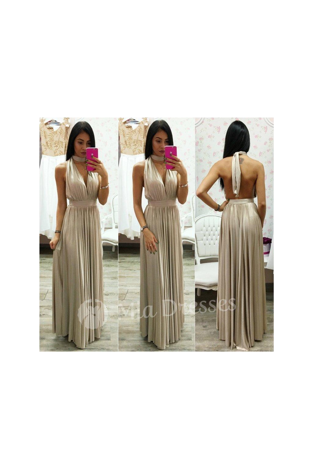 3a984ce94b73 Zlaté spoločenské šaty s plisovanou sukňou - Mia Dresses