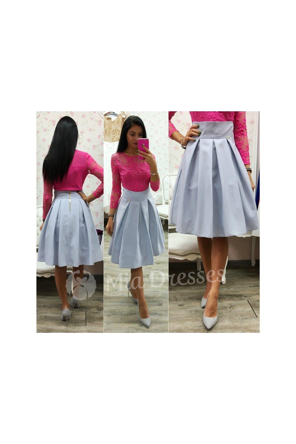 4ffc140aac63 Sivá áčková krátka sukňa - Mia Dresses