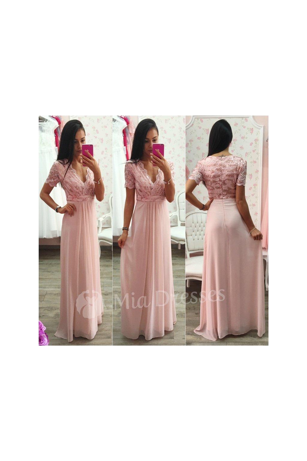 Staroružové šifónové spoločenské šaty - Mia Dresses e126d83ac98