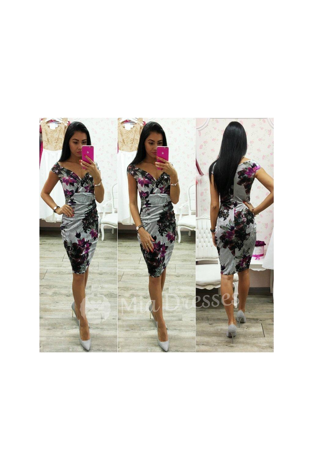 4ee5594d3c5d Sivé zamatové spoločenské šaty - Mia Dresses