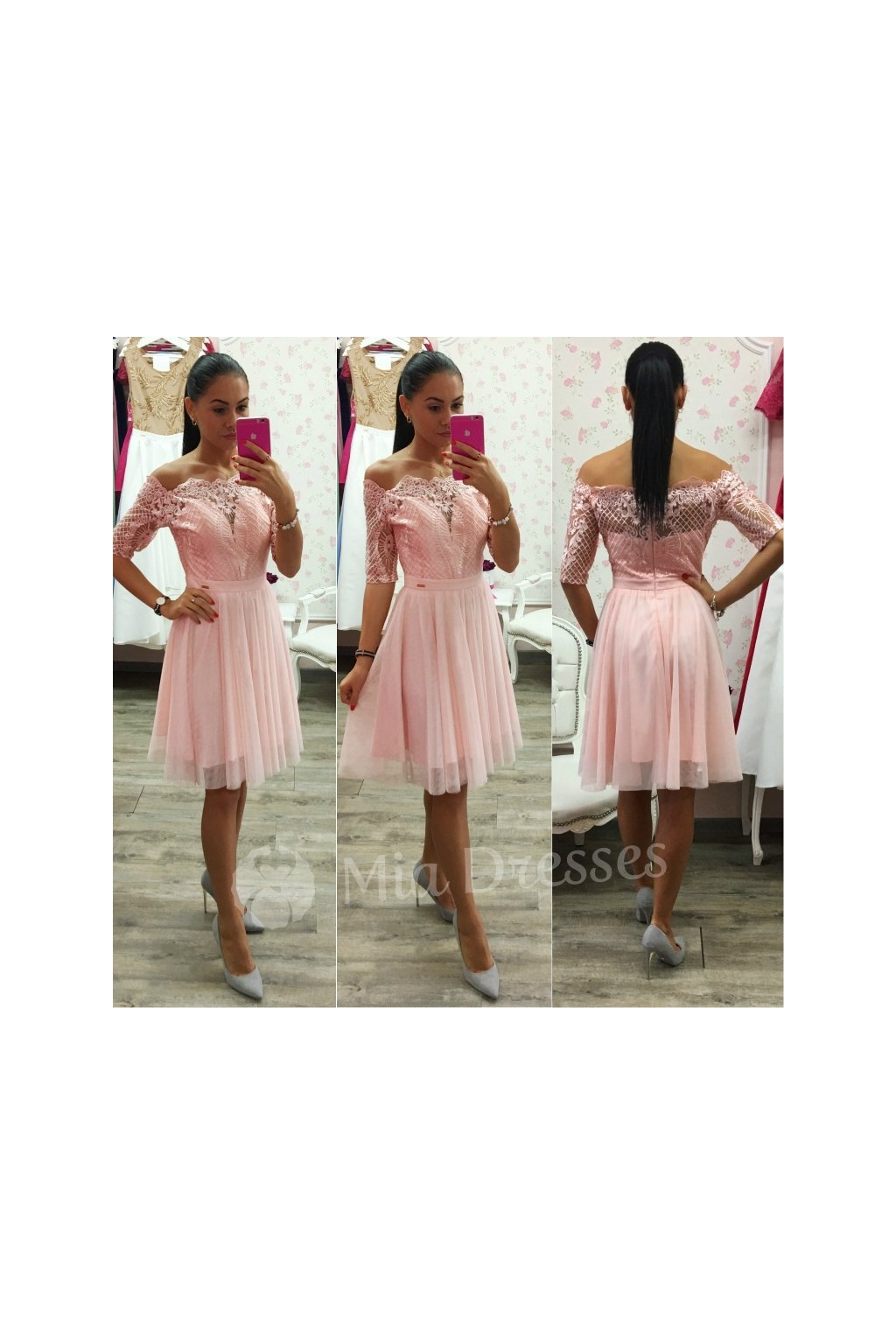Broskyňové krátke spoločenské šaty - Mia Dresses fbf9fb819d5