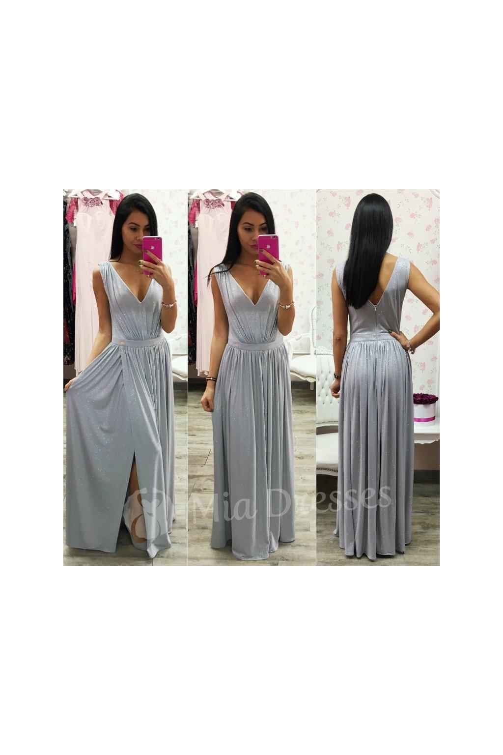 Strieborné trblietavé spoločenské šaty