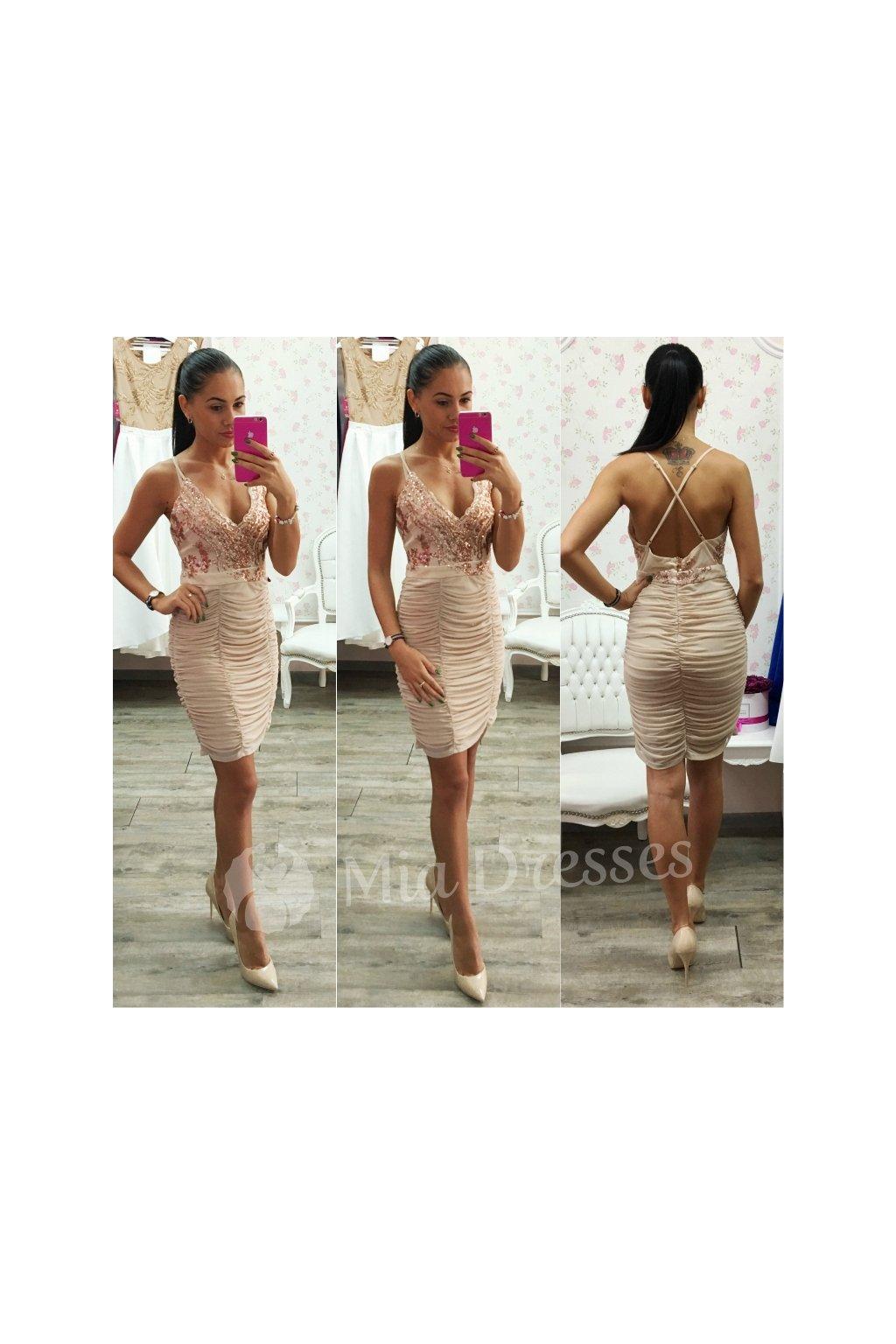 Béžové šaty s flitrami