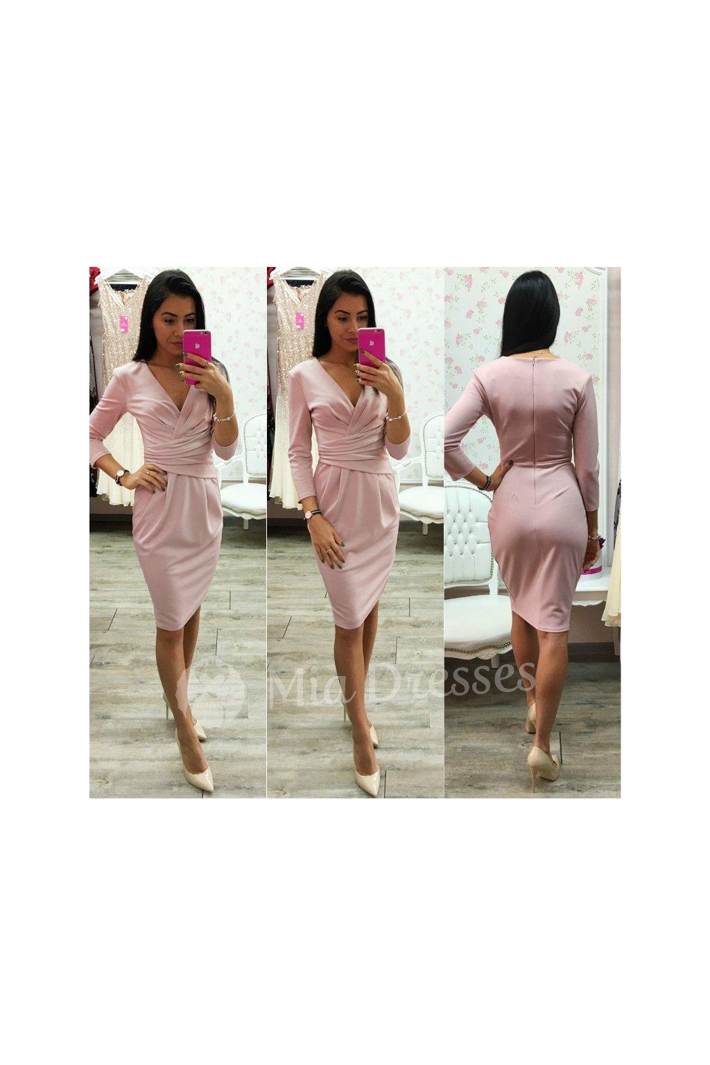 3f43c7f2182a Staroružové midi šaty s výstrihom v tvare V - Mia Dresses