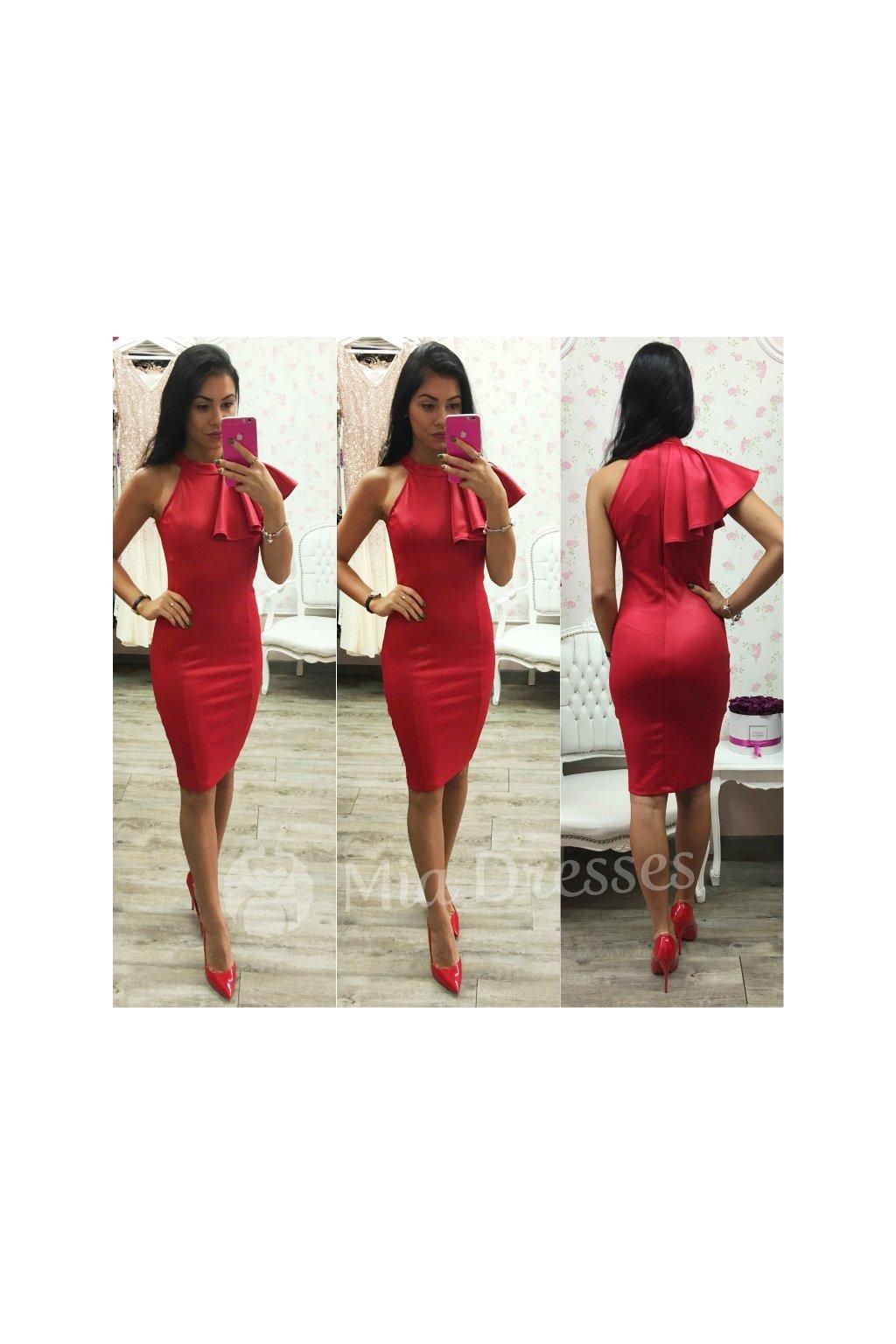 Červené midi šaty s volánom