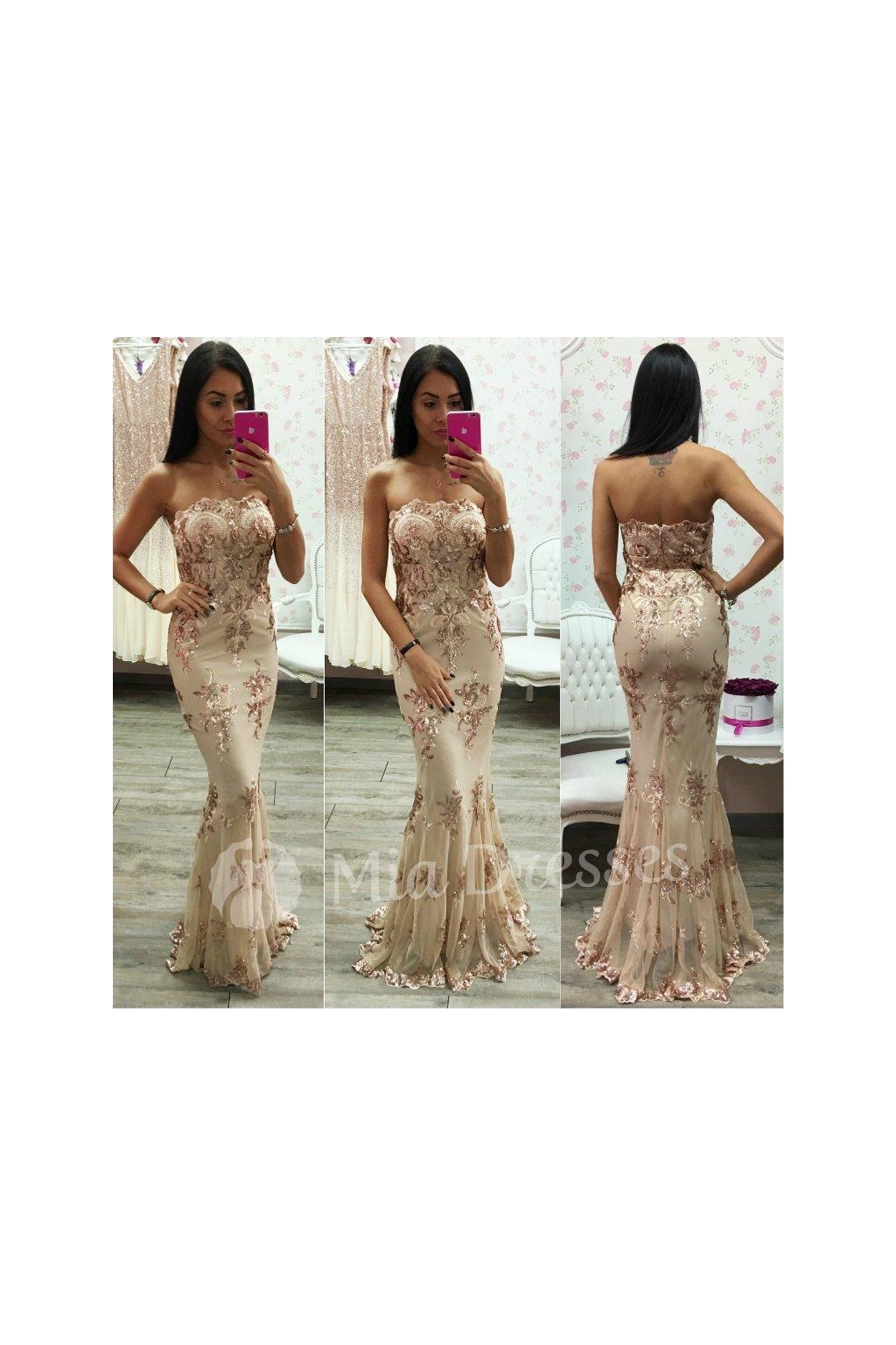 Béžovo-zlaté spoločenské šaty s flitrami - Mia Dresses 4442450078f