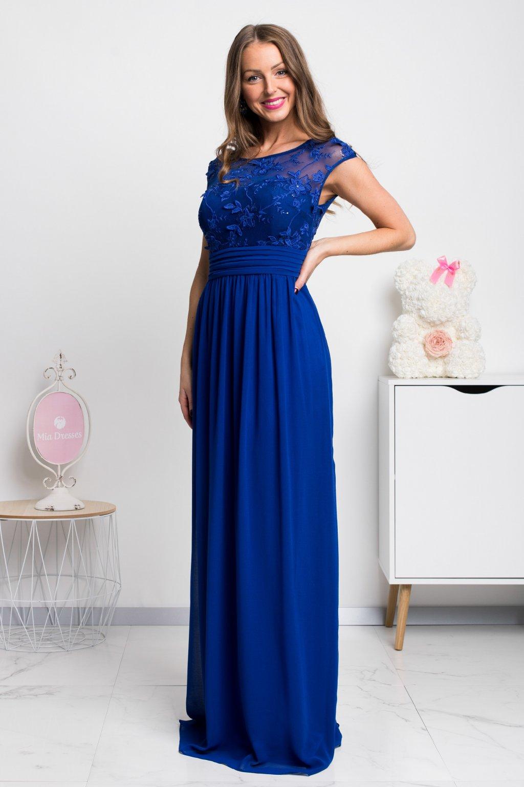 266268295b78 Modré šifónové spoločenské šaty - Mia Dresses
