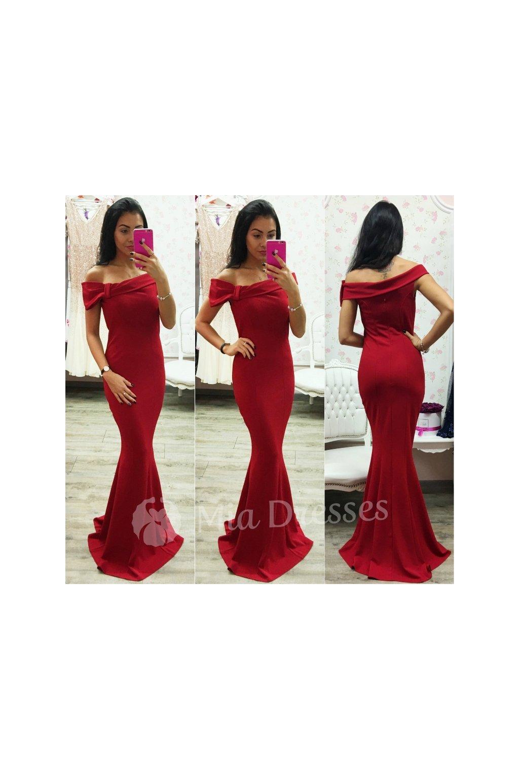 Červené spoločenské šaty so spustenými ramenami