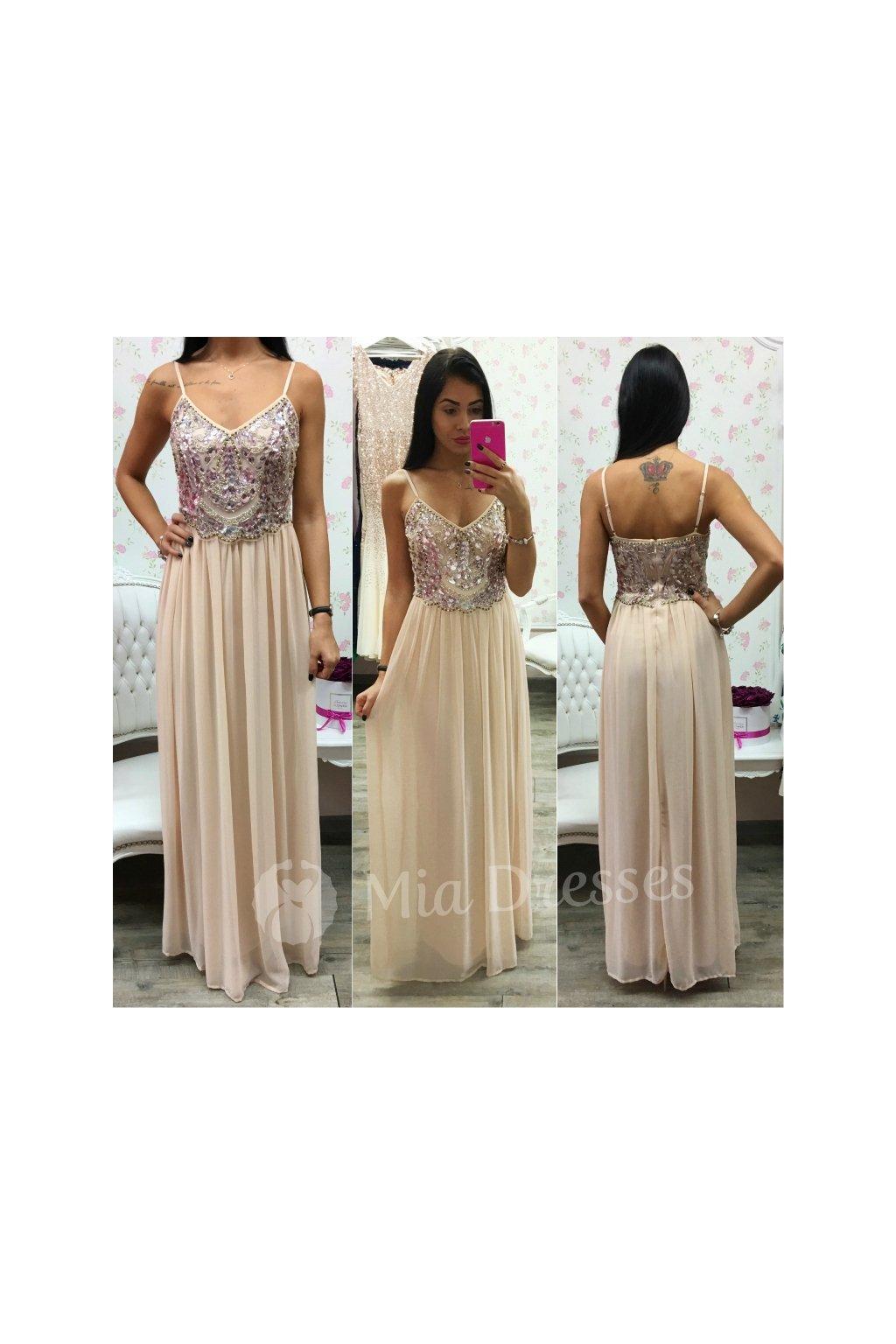 59e9e5423128 Telové šifónové spoločenské šaty - Mia Dresses