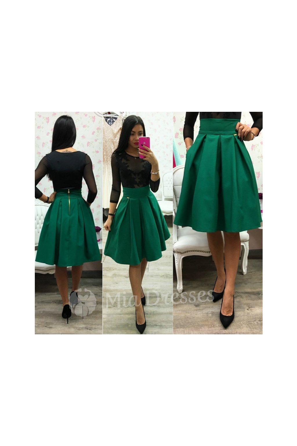 Zelená áčková krátka sukňa
