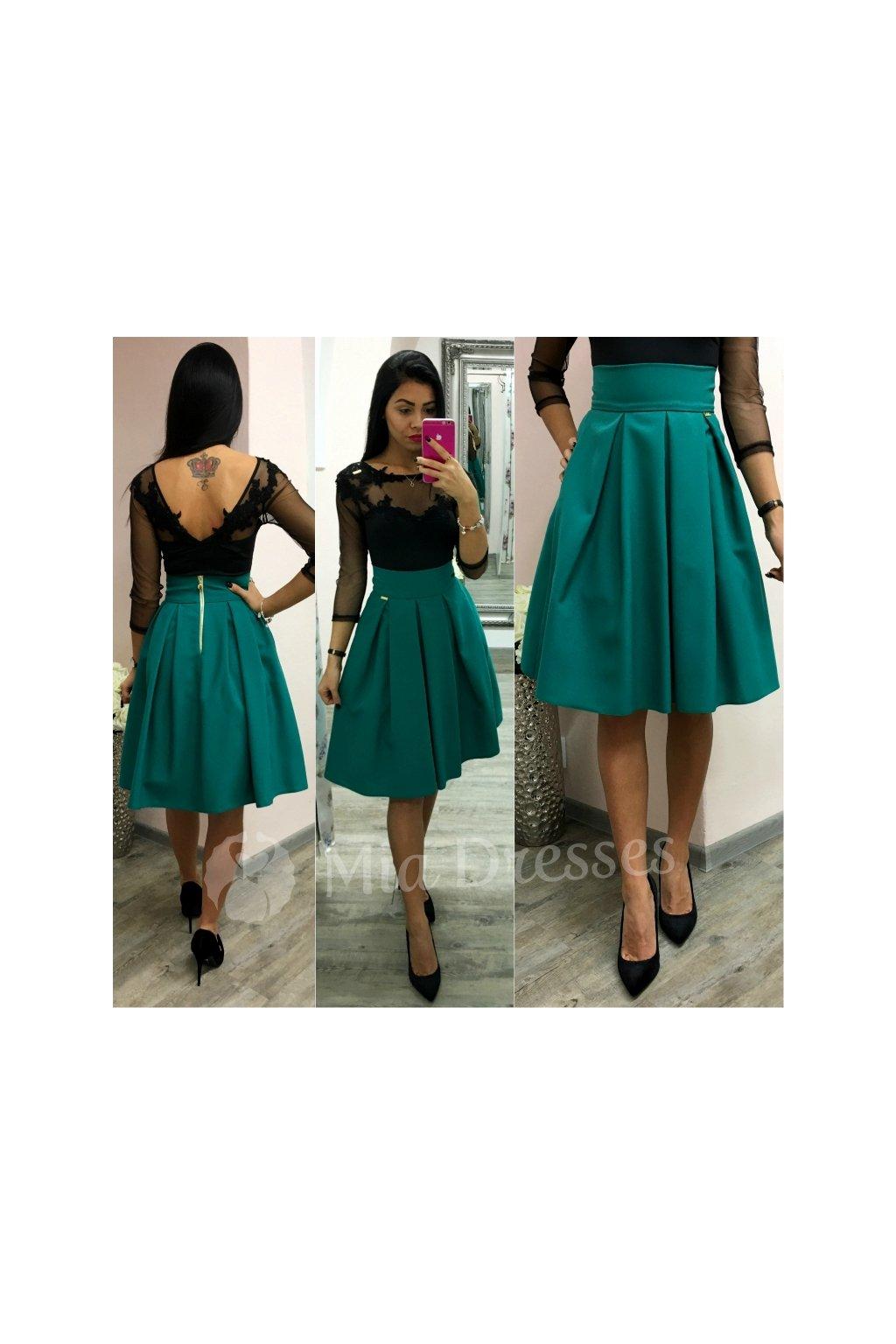 33b8826a3c80 Smaragdová áčková krátka sukňa - Mia Dresses