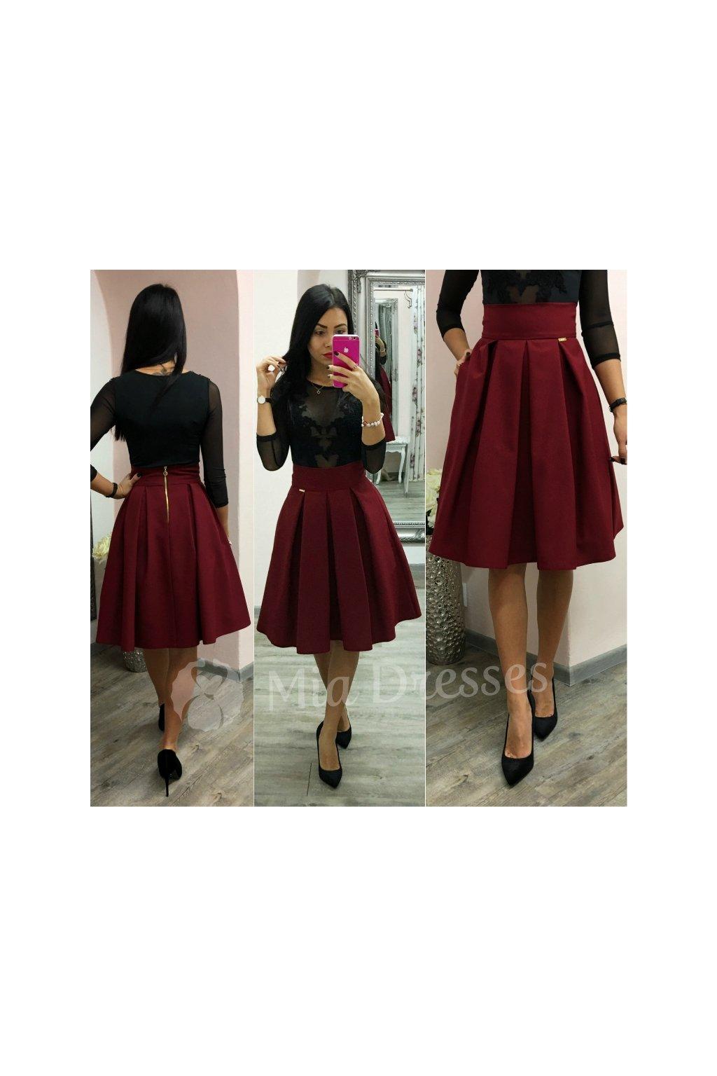 0e85aa33e03f Bordová áčková krátka sukňa - Mia Dresses