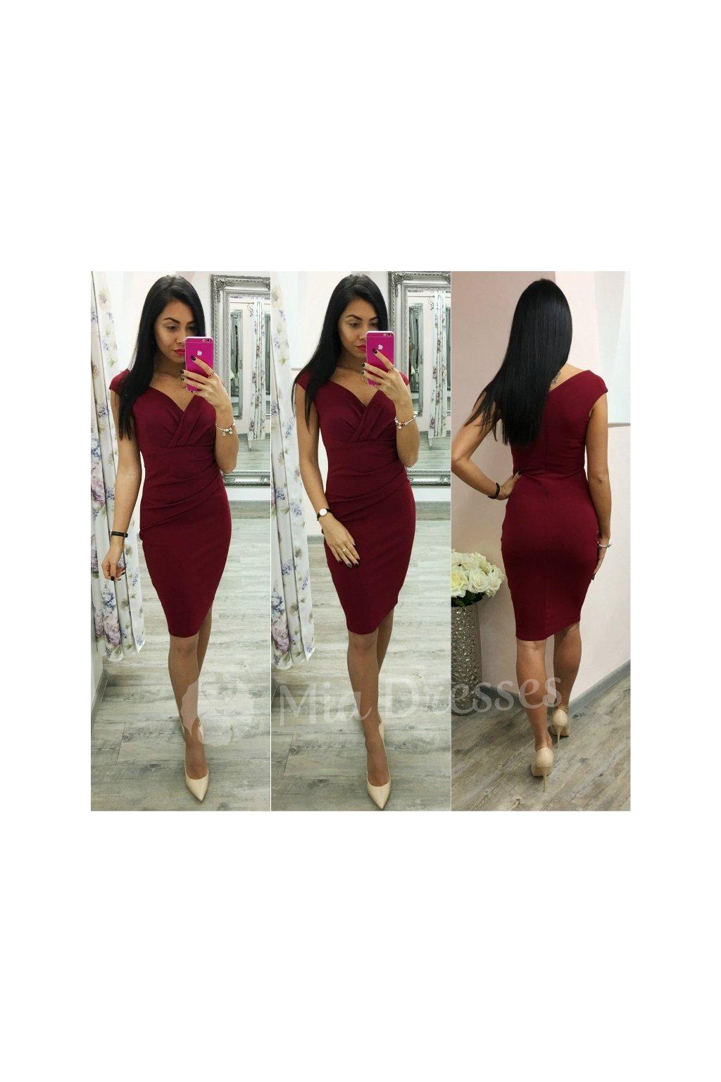 Bordové krátke priliehavé šaty