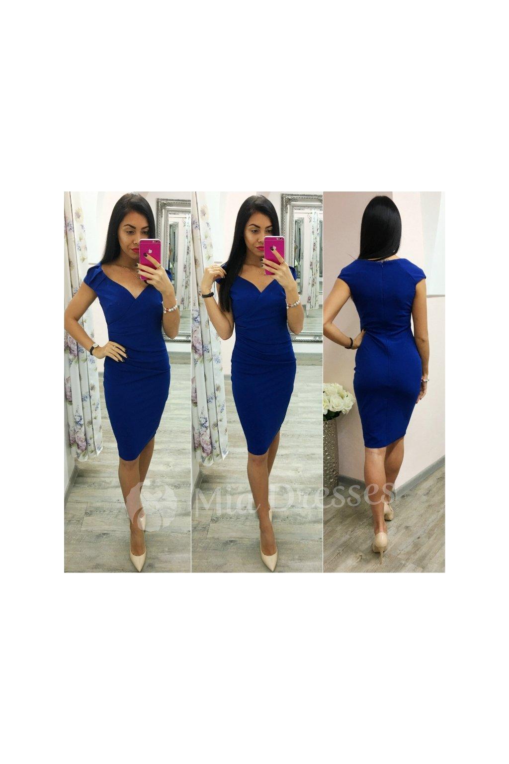 a266b599eb68 Modré krátke šaty s výstrihom - Mia Dresses