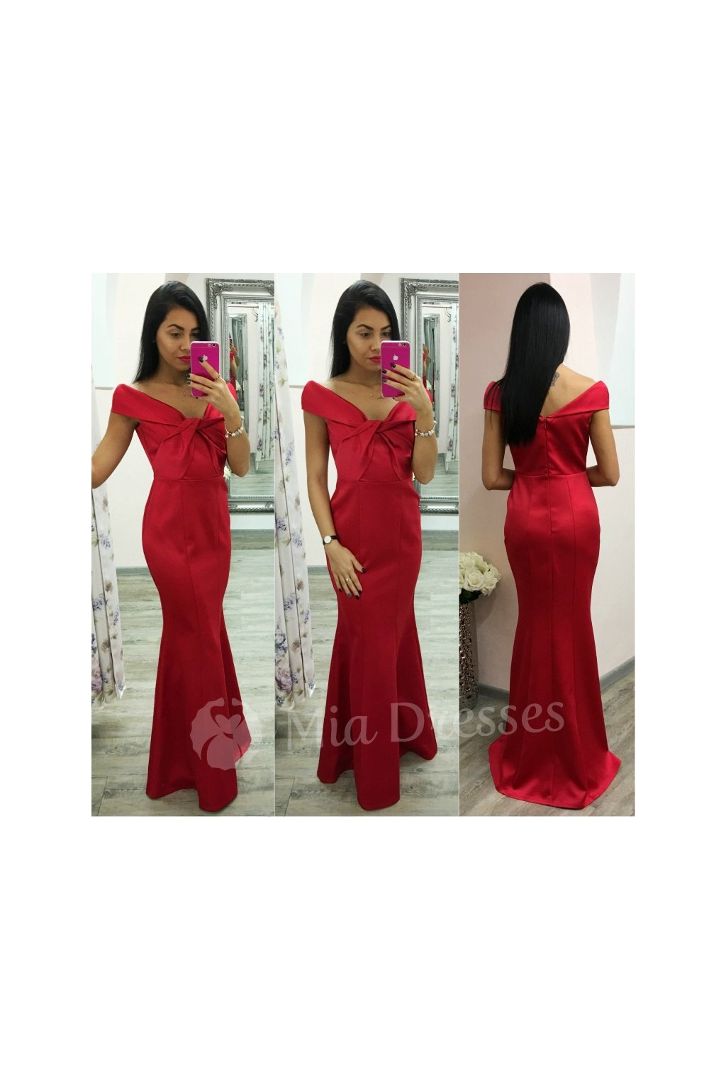 98cfdaf5b278 Červené spoločenské šaty spustené na ramená - Mia Dresses