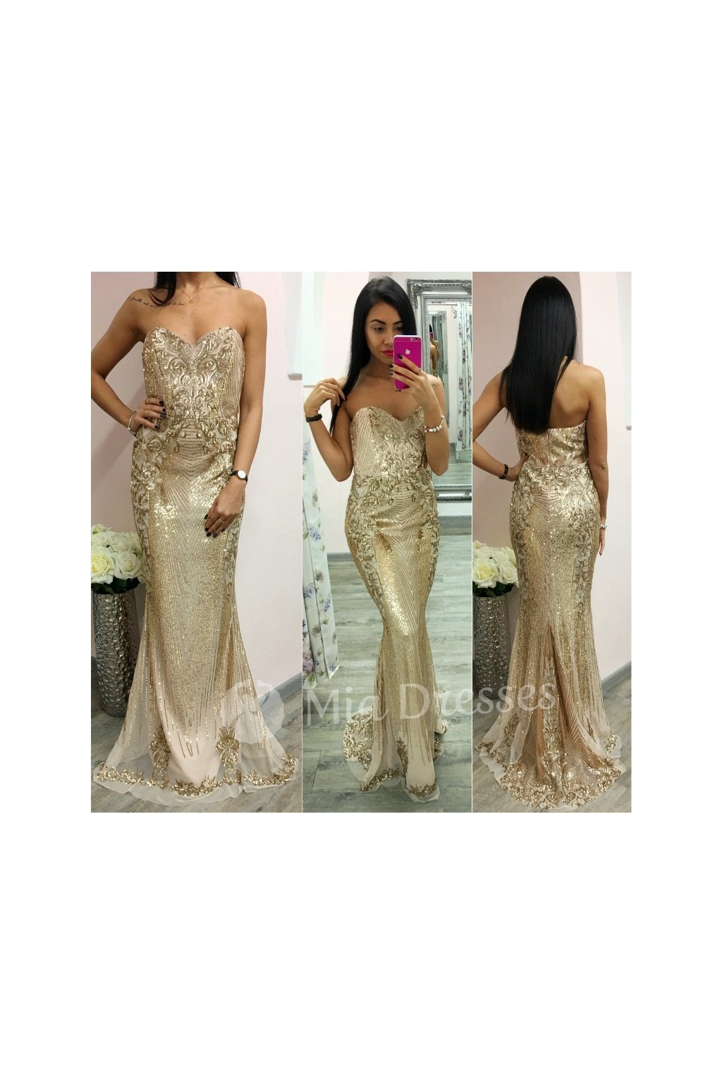 Zlaté spoločenské flitrované šaty