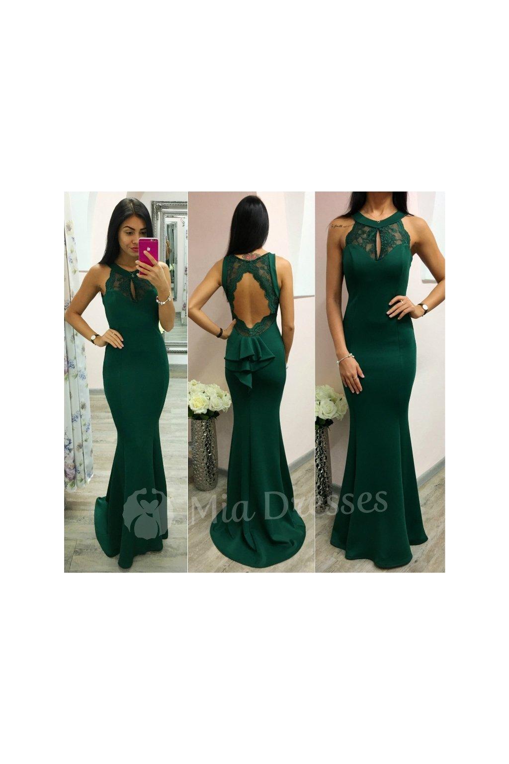 Smaragdové spoločenské šaty s odhaleným chrbtom