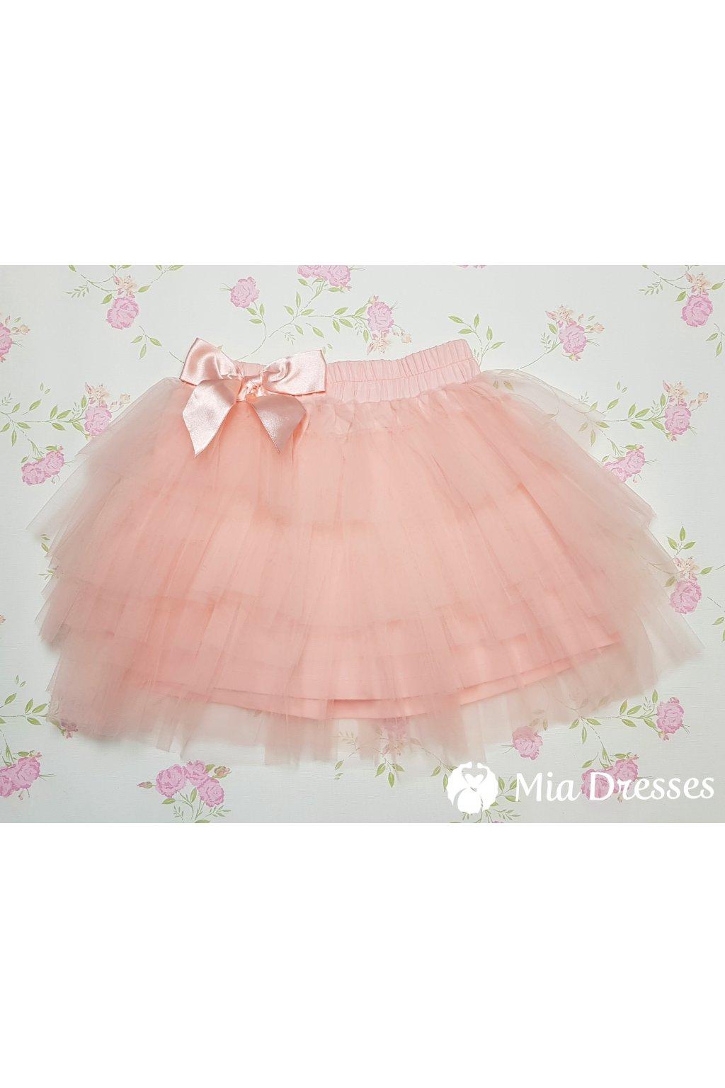 Púdrová detská tylová sukňa