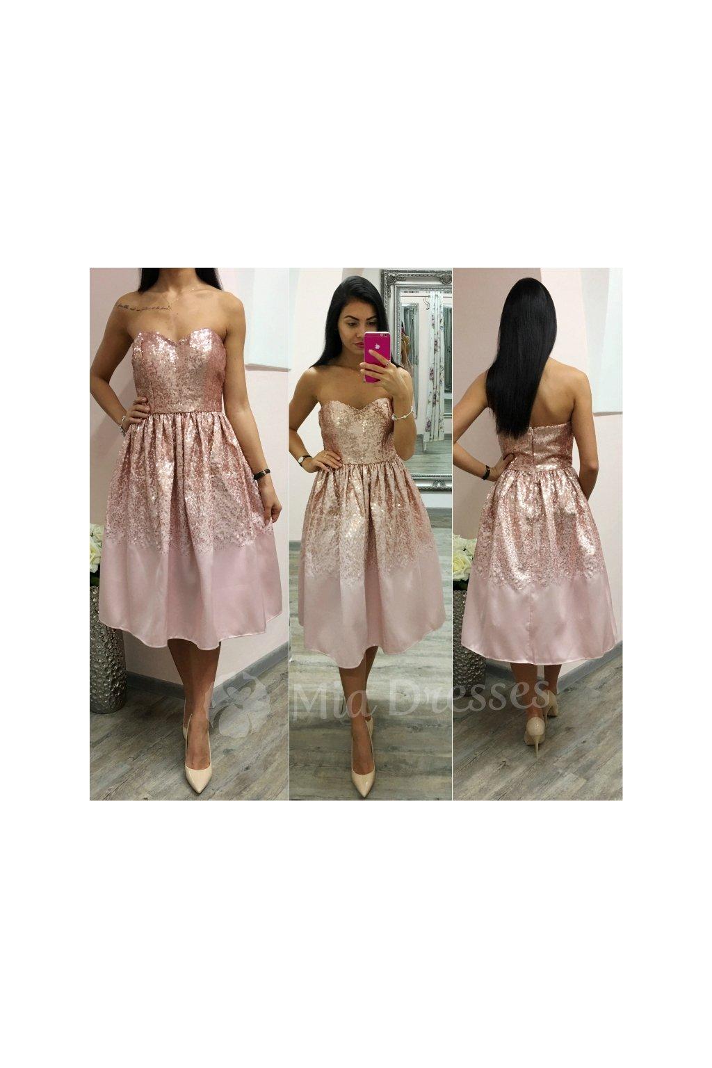 Staroružové midi šaty s flitrami - Mia Dresses 3914b2be433