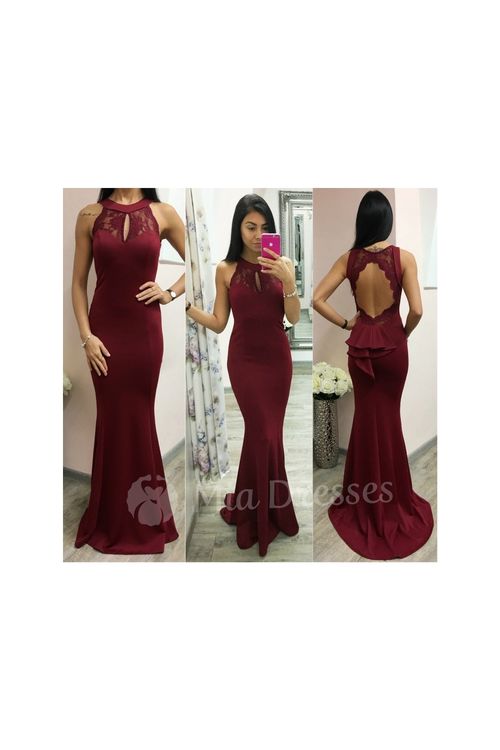8b08b543d2e4 Bordové spoločenské šaty s odhaleným chrbtom - Mia Dresses