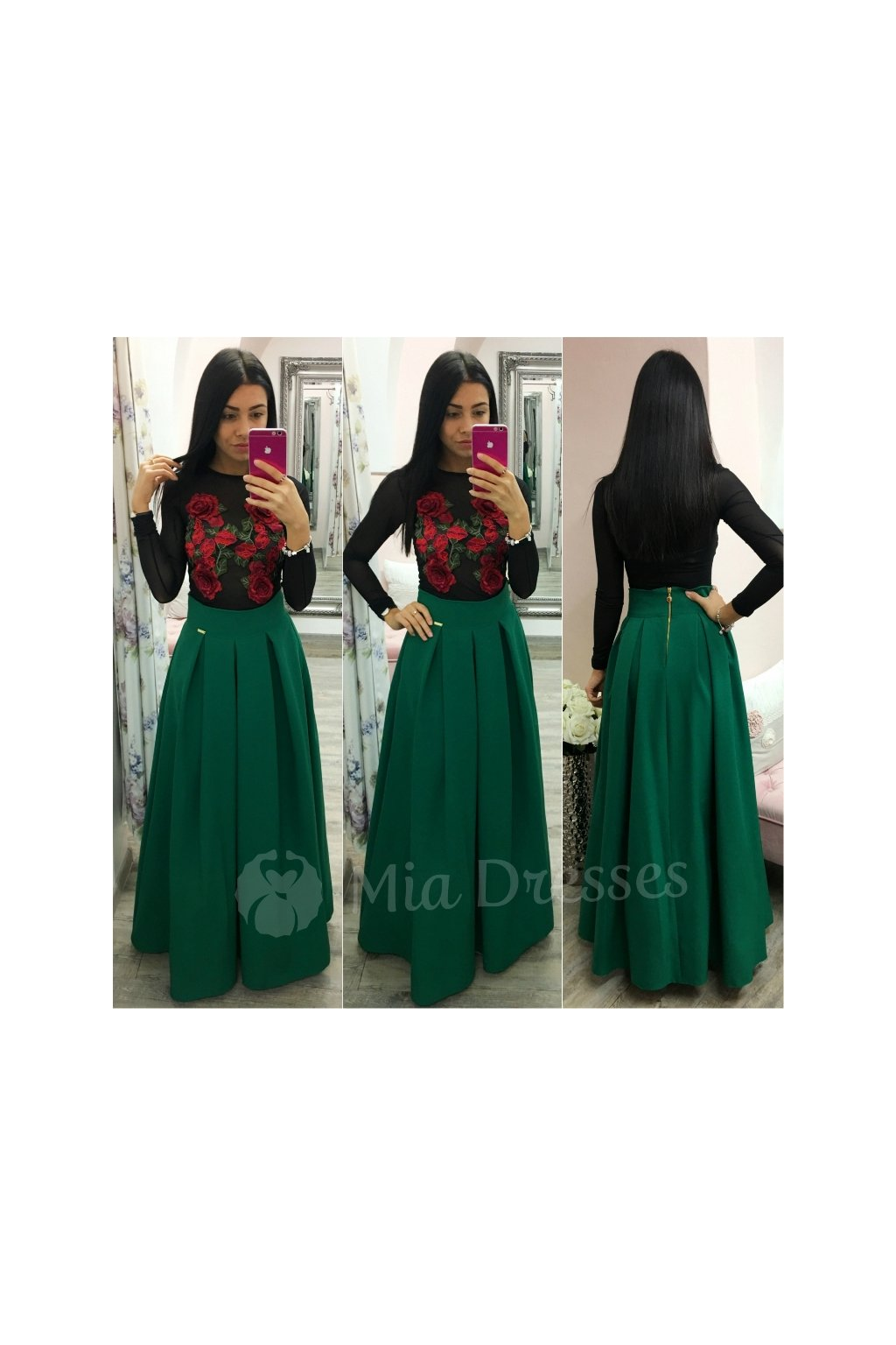 bfa8c6539b43 Zelená dlhá skladaná sukňa ...