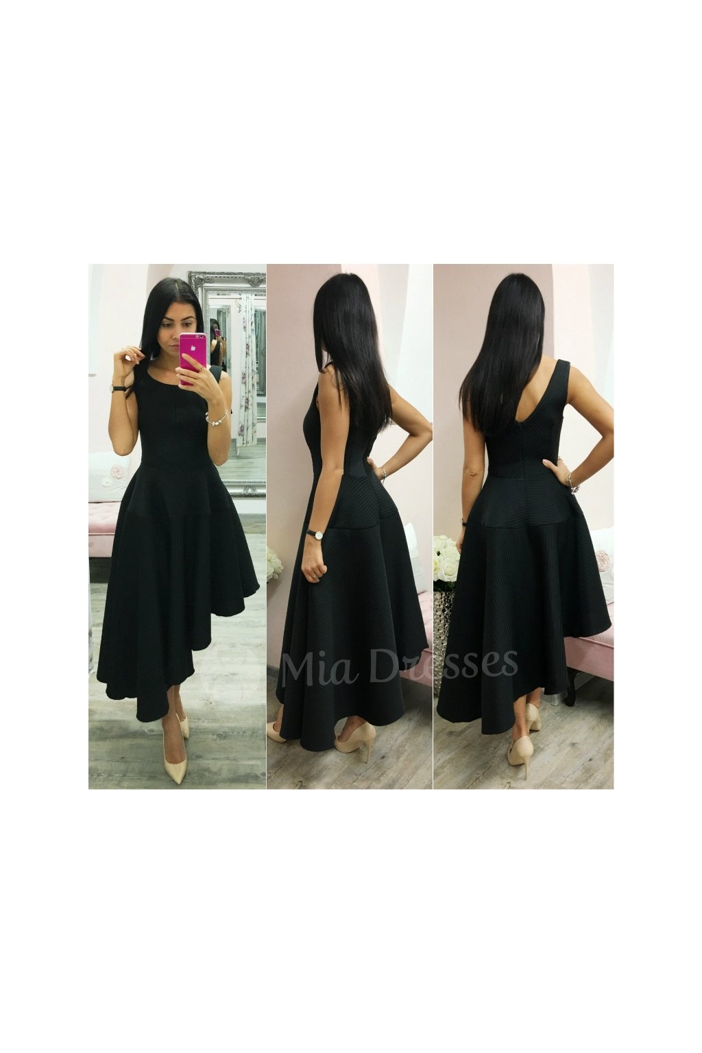 e61491741069 Čierne spoločenské asymetrické šaty - Mia Dresses