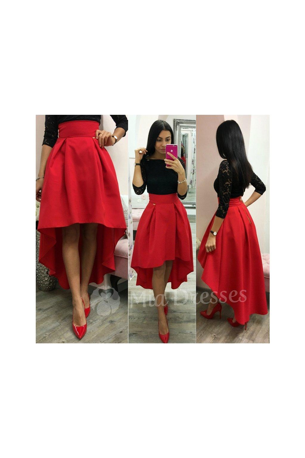 8e0ea7a2b5b4 Červená asymetrická skladaná sukňa - Mia Dresses